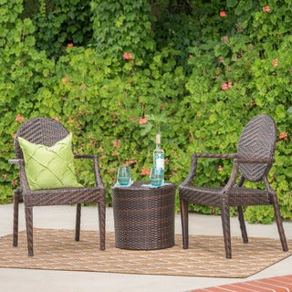 Dorsey Outdoor 3-piece Round Wicker Bistro Chat Set by Christopher Knight Home