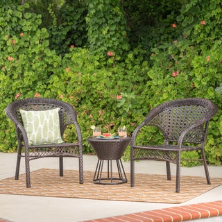 Hitchcock Outdoor 3-piece Round Wicker Bistro Chat Set by Christopher Knight Home