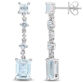 Miadora Signature Collection 14k White Gold Sky-Blue Topaz and Diamond Accent Geometric Dangle Earrings