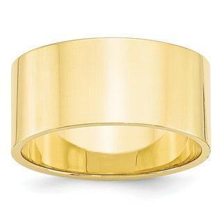 10 Karat Yellow Gold 10mm Lightweight Flat Band