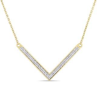 Miadora Signature Collection 14k Yellow Gold 1 7ct TDW Diamond V Shaped Bar Necklace