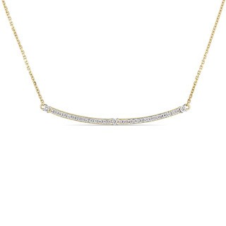 Miadora Signature Collection 14k Yellow Gold 1/5ct TDW Diamond Thin Stationed Bar Necklace