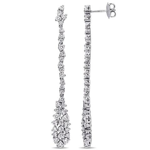 Miadora Signature Collection 14k White Gold 2 1/2ct TDW Diamond Cluster Teardrop Dangle Earrings