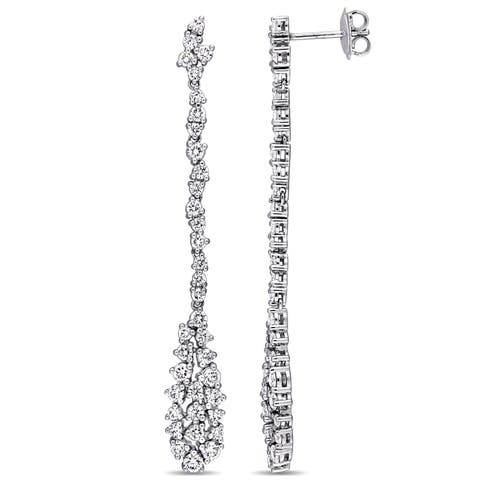 Miadora Signature Collection 14k White Gold 2 1/2ct TDW Diamond Cluster Teardrop Dangle Earrings