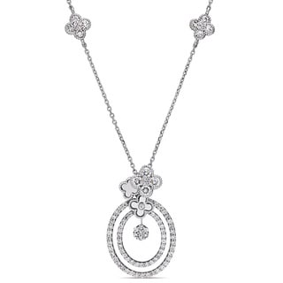 Miadora Signature Collection 14k White Gold 1 1/5ct TDW Diamond Layered Quatrefoil Accent Necklace