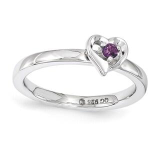 Sterling Silver Affordable Expressions Rhodolite Garnet Heart Ring