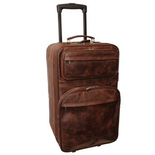 Amerileather Brown Python-Print Leather 26-inch Expandable Rolling Suitcase