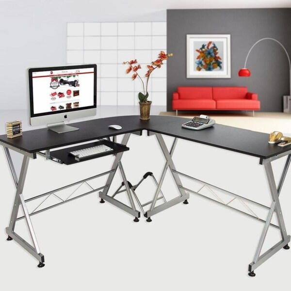 Shop L Shape Laptop Pc Table Corner Computer Desk Wkeyboard Tray