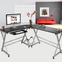 L-Shaped Durable Wooden Splicing Computer Desk Black