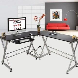 L Shape Laptop PC Table Corner Computer Desk W/Keyboard Tray Black