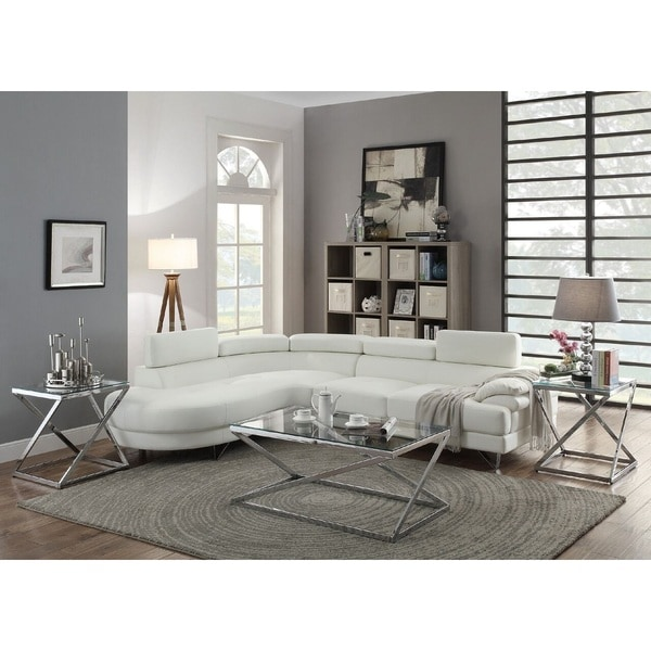 Shop Horki 2 Piece White Faux Leather Upholstered Sectional Sofa