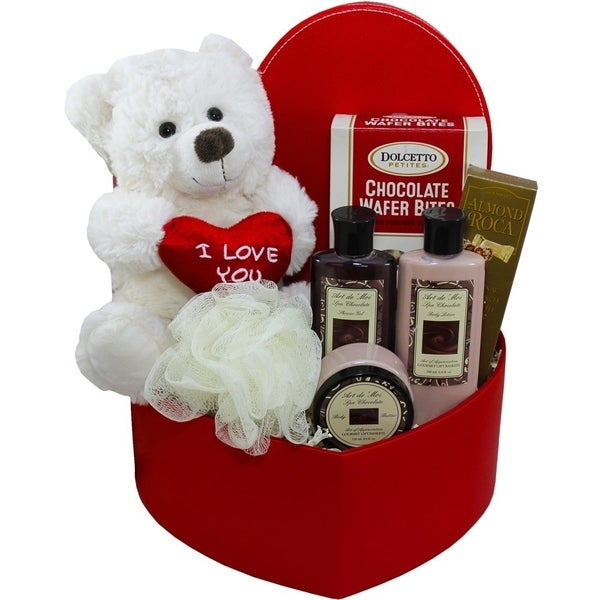 Cuddles & Kisses Chocolate Spa Bath Set Box with Treats & Teddy Bear