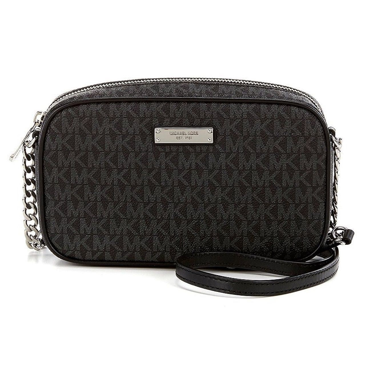 Michael Kors Signature Jet Set Black Large East West Cros...