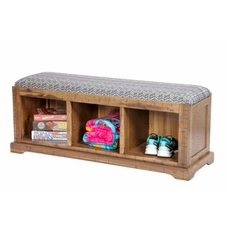 OS Home and Office Turquoise Fabric/Solid Wood Cushioned Hall Bench