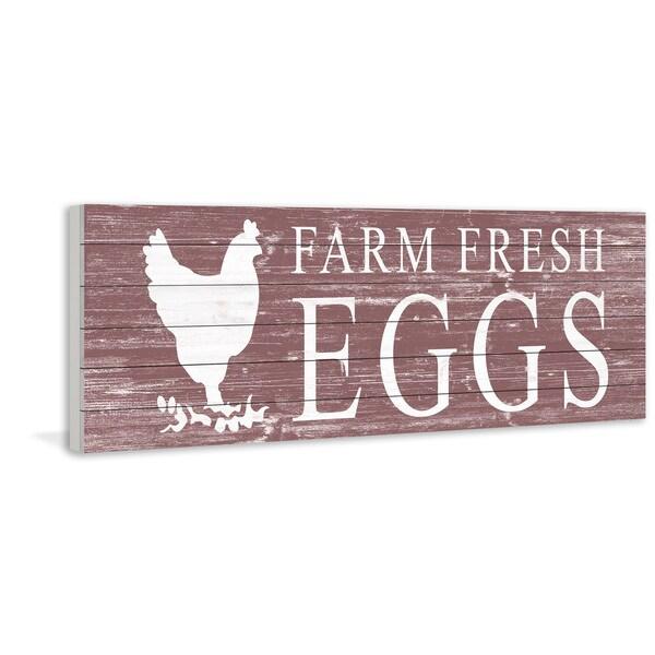 Marmont Hill - Handmade Farm Fresh Eggs Painting Print on White Wood