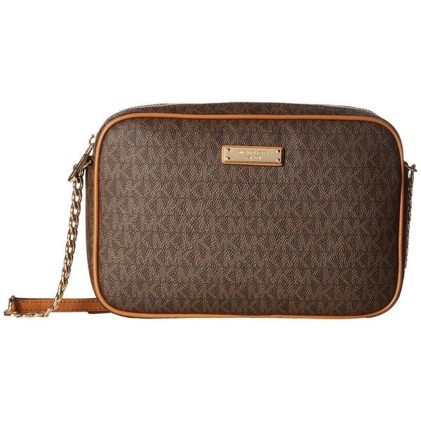 72eb327985 Michael Kors Signature East West Brown PVC and Metal Large Crossbody Handbag