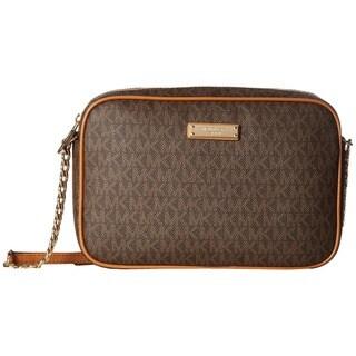 Michael Kors Signature East West Brown PVC and Metal Large Crossbody Handbag