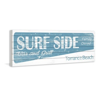 Marmont Hill - Handmade Surf Bar & Grill Painting Print on White Wood