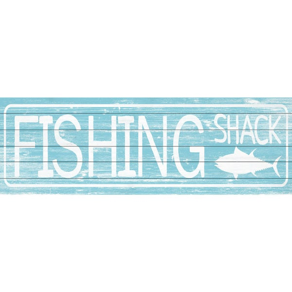 Marmont Hill - Handmade Vintage Fishing Shack Painting Print on White Wood