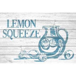 Marmont Hill - Handmade Lemon Squeeze Painting Print on White Wood
