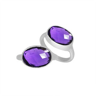 Handmade Sterling Silver Faceted Oval Amethyst Gemstone  Bali Ring (Indonesia)