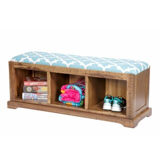 OS Home and Office Solid Wood 3-compartment Hall Storage Bench With Flynn Teal Fabric Covered Cushioned Seat