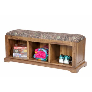 OS Home and Office Solid Wood Hall Bench with True Timber Camoflage Fabric-covered Cushioned Seat
