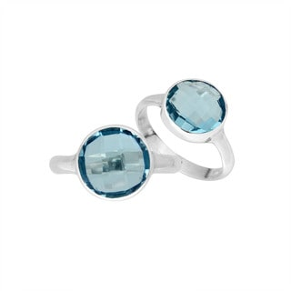 Handmade Sterling Silver Faceted Round Blue Topaz Gemstone  Bali Ring (Indonesia)