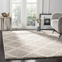 Safavieh New York Shag Contemporary Geometric Light Grey/ Ivory Area Rug - 6'7 Square