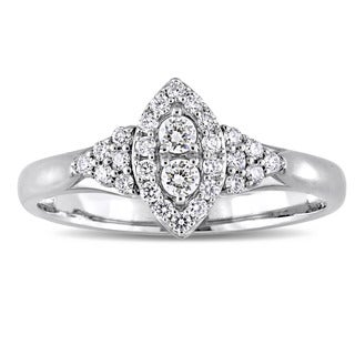 Miadora Signature Collection 14k White Gold 1/3ct TDW Diamond Marquise-Cluster Engagement Ring