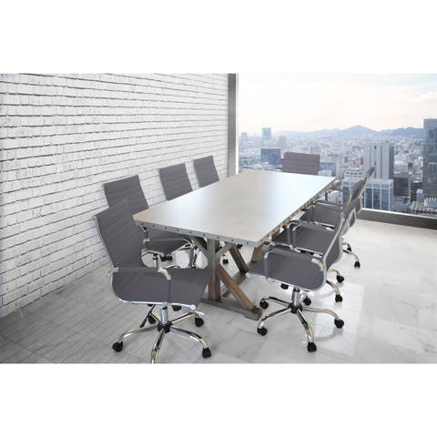 Solis Armis Galvanized Iron Top Nailhead Trim Table With 8 Grey Leather Padded Ribbed Low Back Office Chairs