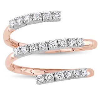 Miadora Signature Collection 2-Tone 18k White and Rose Gold 1/2ct TDW Diamond Spiral Coil Ring