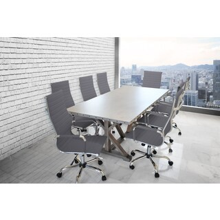 Solis Armis 9-piece Galvanized Iron Top Nailhead Trim Table with Grey Padded Leather High Back Office Chairs Conference Set|https://ak1.ostkcdn.com/images/products/16489412/P22829047.jpg?_ostk_perf_=percv&impolicy=medium