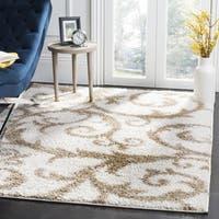 Safavieh New York Shag Contemporary Floral Ivory/ Beige Area Rug - 6'7 Square