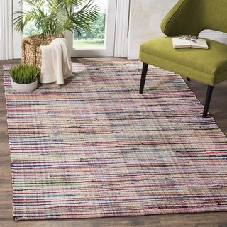 Safavieh Rag Rug Transitional Stripe Hand-Woven Cotton Ivory/ Multi Area Rug (4' Square)