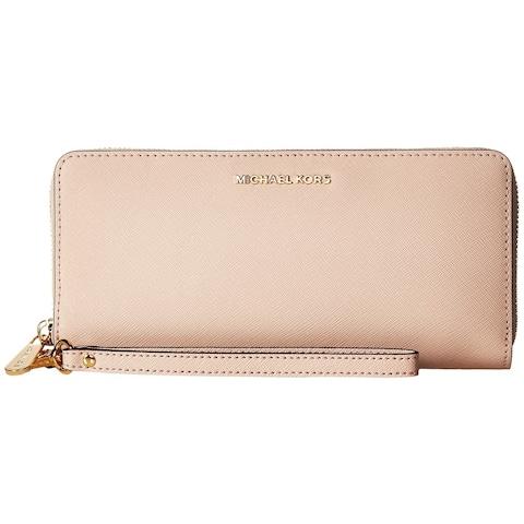 Michael Kors Jet Set Pink Leather Continental Travel Wallet