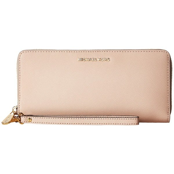 7a5929108d0f Shop Michael Kors Jet Set Pink Leather Continental Travel Wallet ...