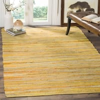 Safavieh Rag Rug Transitional Stripe Hand-Woven Cotton Yellow/ Multi Area Rug - 4' x 4' Square