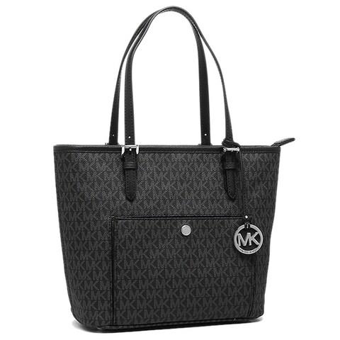 Michael Kors Jet Set Black and Silver PVC Large Top-zip Snap-pocket Tote Bag