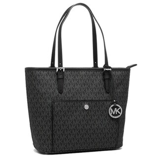 Michael Kors Jet Set Black and Silver PVC Large Top-zip Snap-pocket Tote Bag