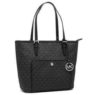 Michael Kors Jet Set Black And Silver Pvc Large Top Zip Snap Pocket Tote