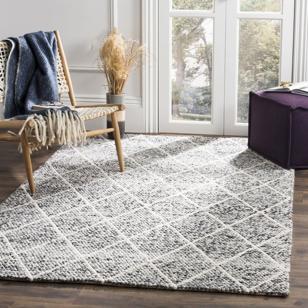 Safavieh Natura Transitional Geometric Hand-Woven Wool Ivory/ Black Area Rug (6' Square)