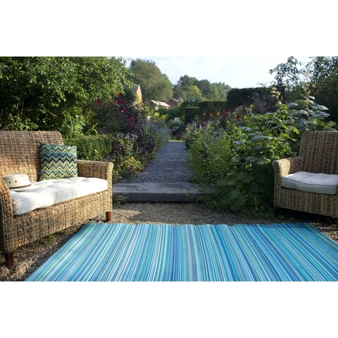 Fab Habitat Cancun Indoor/Outdoor Recycled Plastic Rug, Turquoise & Moss Green, (4' x 6') (India) - 4' x 6'