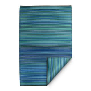 Fab Habitat Cancun Indoor/Outdoor Recycled Plastic Rug, Turquoise & Moss Green, (5' x 8') (India) - 5' x 8'
