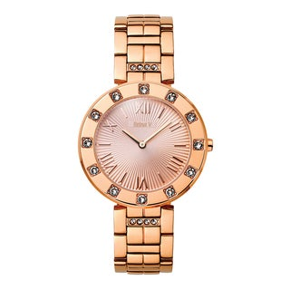 Reina V Rose Gold Plated 05865 Women's Wrist Watch Cubic Zirconia Studded Rose Dial Gloria Collection
