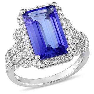 Miadora Signature Collection 14k White Gold Octagon-Cut Tanzanite and 5/8ct TDW Diamond Filigree Hal