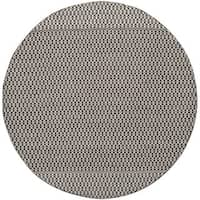Safavieh Montauk Transitional Geometric Hand-Woven Cotton Ivory/ Black Area Rug - 4' x 4' Round