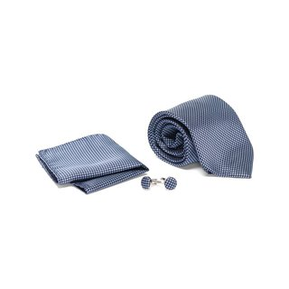 Men's Tie with Matching Handkerchief and Hand Cufflinks-Silver cross stitch on Navy
