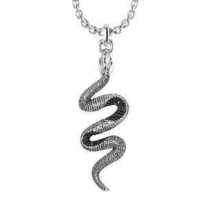 Sterling Silver Black Spinel Snake Pendant Necklace