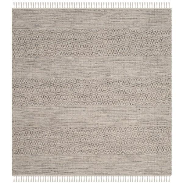 Safavieh Montauk Transitional Geometric Hand-Woven Cotton Ivory/ Steel Grey Area Rug (4' Square)